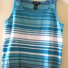 End on End Knitwear AQUA, WHITE & MEDIUM BLUE Sweater Tank Top SZ XL
