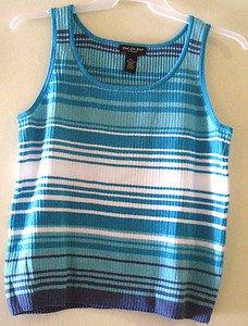 End on End Knitwear AQUA, WHITE & MEDIUM BLUE Sweater Tank Top SZ XL
