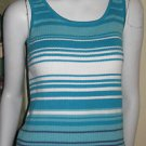 End on End Knitwear AQUA, WHITE & MEDIUM BLUE Sweater Tank Top SZ LARGE