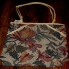 WOMEN'S CANVAS FLORAL TAPISTRY ZIPPERED HANDBAG, NEW WITH TAG!