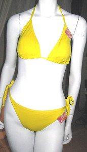 WOMEN'S YELLOW KNIT STRING BIKINI, SIZE S, NEW WITH TAGS!