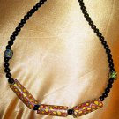 HAND-CRAFTED VINTAGE VENETIAN MILLEFIORI CYLINDRICAL&LONG BEAD AFRICAN NECKLACE