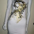 LADIES WHITE TUNIC/DRESS BY BABY PHAT, UNIQUE DESIGN W/CRYSTALS, CAT & GOLD SZ S