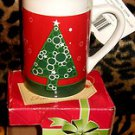 Christmas Tree coffee cup TEA hot cocoa mug with sealed packet of candy inside