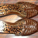 LADIES BACKLESS HEELS BY RAMPAGE, SIZE 8M BROWN WITH LEOPARD INSOLES