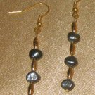FRESHWATER PEARL EARRINGS, IRRIDESCENT DARK PEARLS, GOLD-PLATED BEADS, NEW!