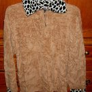 Erika & Co Chenille Women's Sweater Beige & Animal Print Collar/trim Size XL