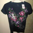 LADIES TATOO T-SHIRT, NAVY BLUE, ROSES, VINES AND SKULL, SIZE MEDIUM, NEW!