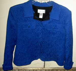*DRAPER'S & DAMON'S* Blue Tapestry Style Cotton/Poly Cropped Coat Jacket PL