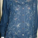 LADIES 100% COTTON BLUE DENIM EMBELLISHED BLOUSE BY KORET CITY BLUES, SIZE M