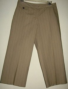 LADIES CAPRI PANTS BY ANN TAYLOR, SIZE 2, BEIGE WITH CHAROCAL PINSTRIPE, NEW!