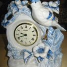 VINTAGE LINDEN ALARM CLOCK, BLUE/WHITE W BIRD & FLOWERS