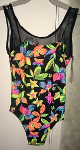 GITANO GIRLS ONE PIECE BATHING SWIM SUIT TROPICAL PATTERN SIZE 12 NEW WITH TAGS!