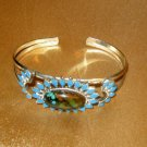 SOUTHWESTERN SILVER CUFF BRACELET, BROWN & BLUE STONES, ADJUSTABLE
