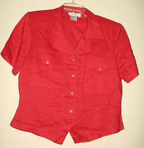LADIES LINEN BLOUSE BY CARRY BACK, SIZE 6, RED, SHORT SLEEVES