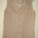 LIZGOLF SHIRT, SIZE MEDIUM, LINEN BLEND, BEIGE & IVORY FLORAL DESIGN, SLEEVELESS