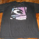 BOY'S RIP CURL T-SHIRT, BLACK WITH PURPLE, BLUE, BLACK & WHITE GRAPHICS, SIZE XL