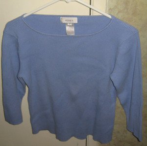 WOMEN'S JONES SPORT SWEATER, BLUE, RIBBED SIZE MEDIUM
