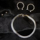 JEWELRY SET, BRACELET, 2 PRS EARRINGS, SILVERTONE, NEW!