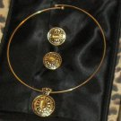 JEWELRY SET, NECKLACE WITH PENDANT, CLIP EARRINGS, SIMULATED TIGER'S EYE, NEW!