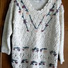 Womans Sweater Sz L by Needles and Yarn Ivory + Berry & Green Floral Stitching