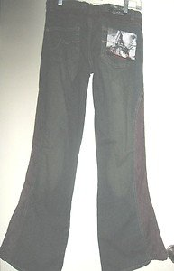 WOMEN'S FLARE JEANS BY RAMPAGE, CONTRASTING INSERTS, SZ 9 NEW WITH TAG ATTACHED