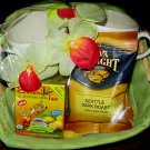 ELEGANT NEW GIFT BASKET - 2  LARGE MUGS & ASSORT COFFEE & TEA. A PERFECT GIFT!