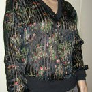 Beautiful black with floral pattern 100% SILK blouse by Kenar. Size Small NWT