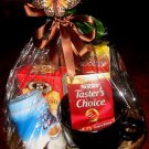 COFFEE GIFT BASKET WITH LARGE MUG, COFFEE, CREAMER & CAPPUCCINO