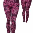 BLACK LEGGINGS WITH PINK ZEBRA PRINT