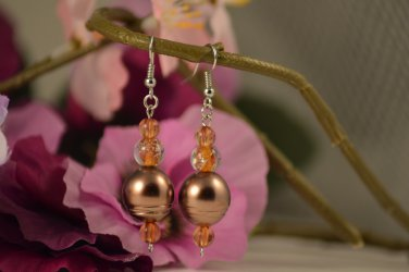 Ebony- Mahogany Dream, Golden Cat's Eye with Gliterring Gloss Beaded Earring Drops