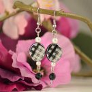 Cassidy- Black White Checkered, Ivory Sim Pearl, Jet Black Faceted Bead Earring Dangles