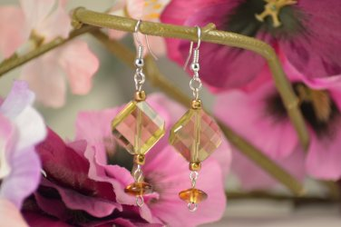 Ramona- Translucent Sage Textured Diamonds with Mocha Beads Earring Drops