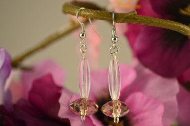 Lily- Clear Long Oval and Olive Faceted Earring Drops