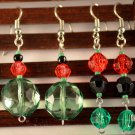 Motherland Pride- Tribal Red Black Green Faceted Round Ethnic Dangle Earrings