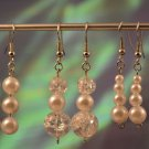 Blessed Trinity- Clear Crackled Beading with Ivory Simulated Pearl Earring Dangles