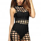 Black Caged Bandage Dress
