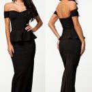 Black Peplum Evening Dress with Shoulder, Evening Dress