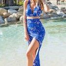 Royal Blue Flirty Cutout Lace Tail Dress