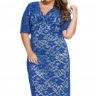 Blue Plus Size V-Neck Half Sleeve Lace Midi Dress