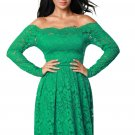 Green Long Sleeve Floral Lace Boat Neck Cocktail Swing Dress