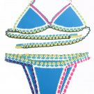 Light Blue Handmade Crotchet Neoprene Latex Bathing Suit