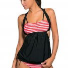 White Red Stripes Black Splice Tankini Swimsuit