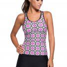 Abstract Print Racerback Tankini Black Skort Swimsuit