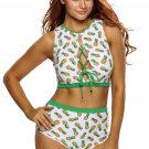 High Waist Lace-up Pineapple Print White Tankini
