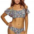 Vintage Floral Print Ruffle 2pcs Swimsuit