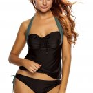 Women Black Gray Halter Neck Tankini Swimsuit
