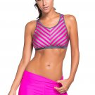 Rosy Stripe Patten Sport Bra Swim Trunk 2pcs Swimsuit