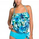 Bluish Print 2pcs Bandeau Tankini Swimsuit