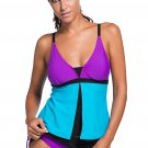Purple Blue Colorblock Tankini Skort Bottom Swimsuit